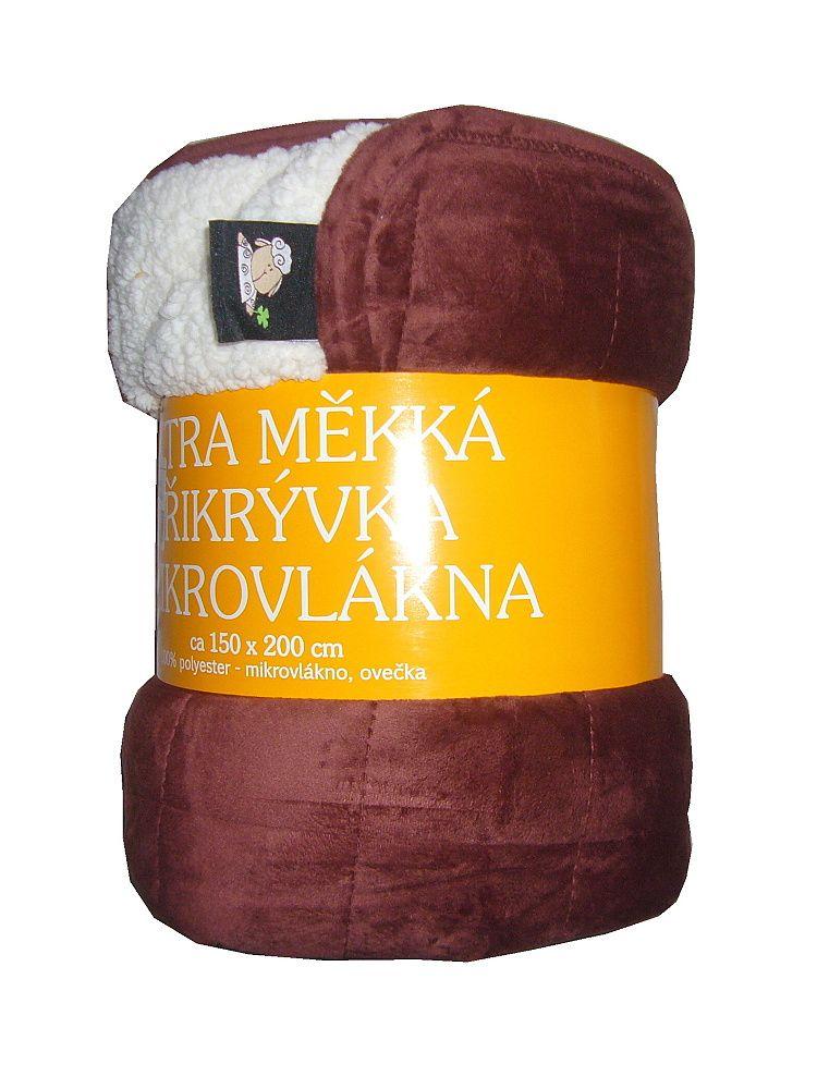 Deka mikrovlákno - Deka Ovečka mahagonová/bílá rozměr 150x200 cm.