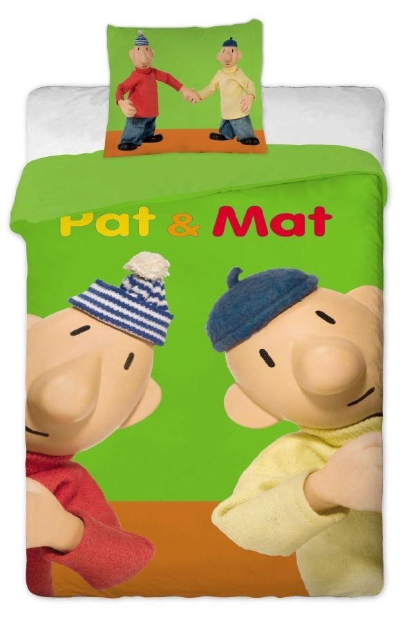 Povlečení bavlna Pat a Mat zelený 1x 140/200, 1x 90/70