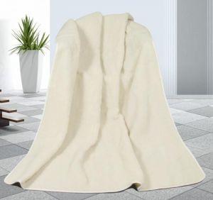 Zvětšit fotografii - Vlněná deka 155 x 200 cm bílá - evropské merino