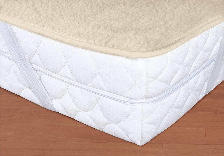 Vlněný matracový chránič 90 x 200 cm béžový - evropské merino