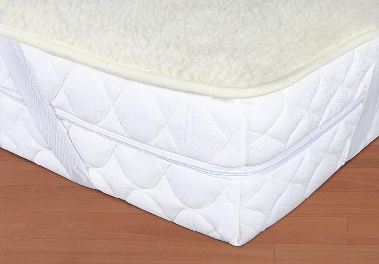 Vlněný matracový chránič 90 x 200 cm bílý - evropské merino