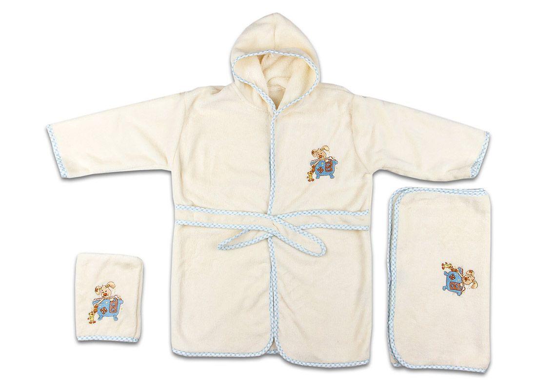 Dětská modrá koupelnová sada - župánek, ručník, žínka velikost 3 až 5 let
