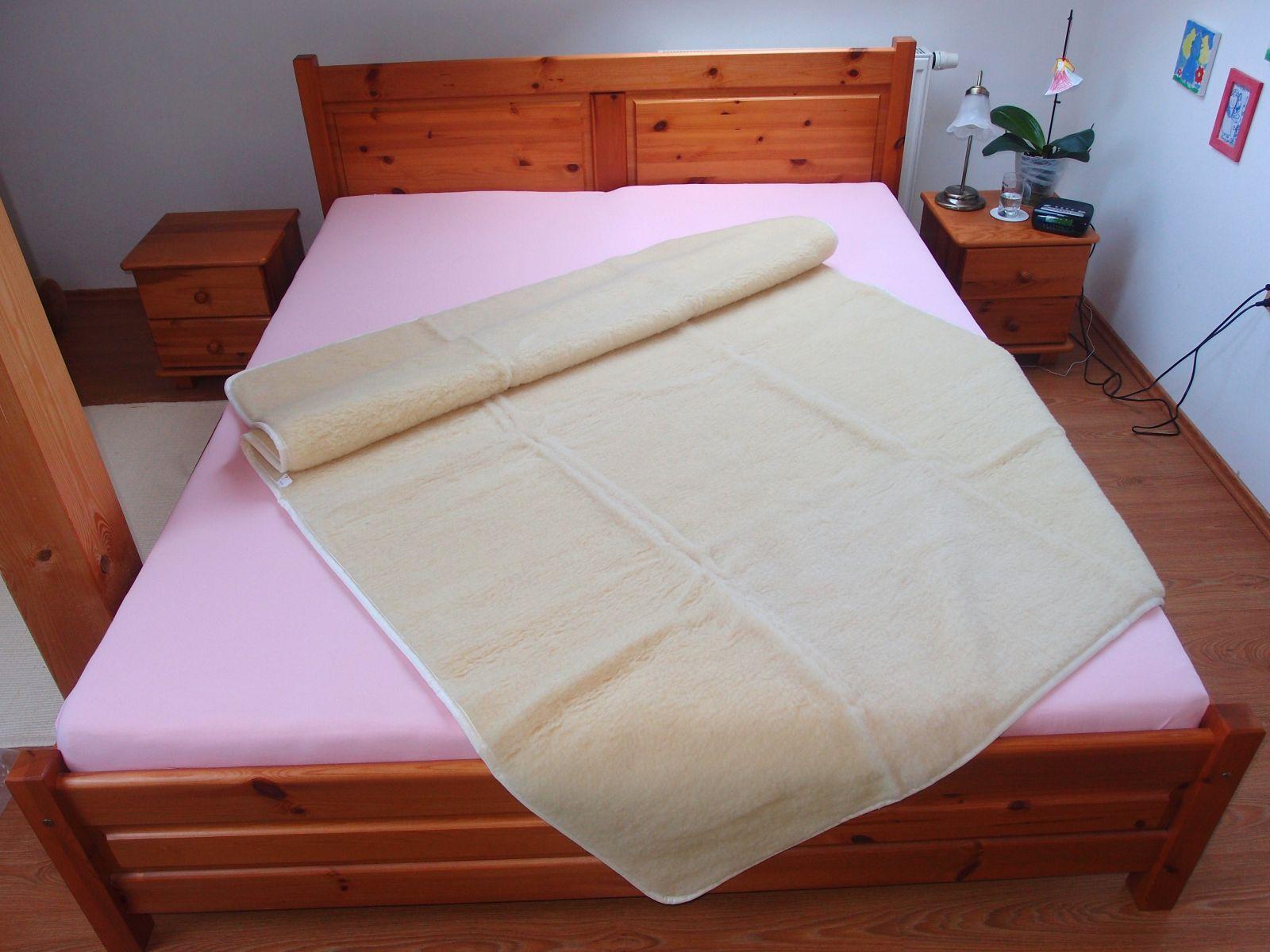 Vlněná deka 150 x 200 cm bílá - vlněný včes merino