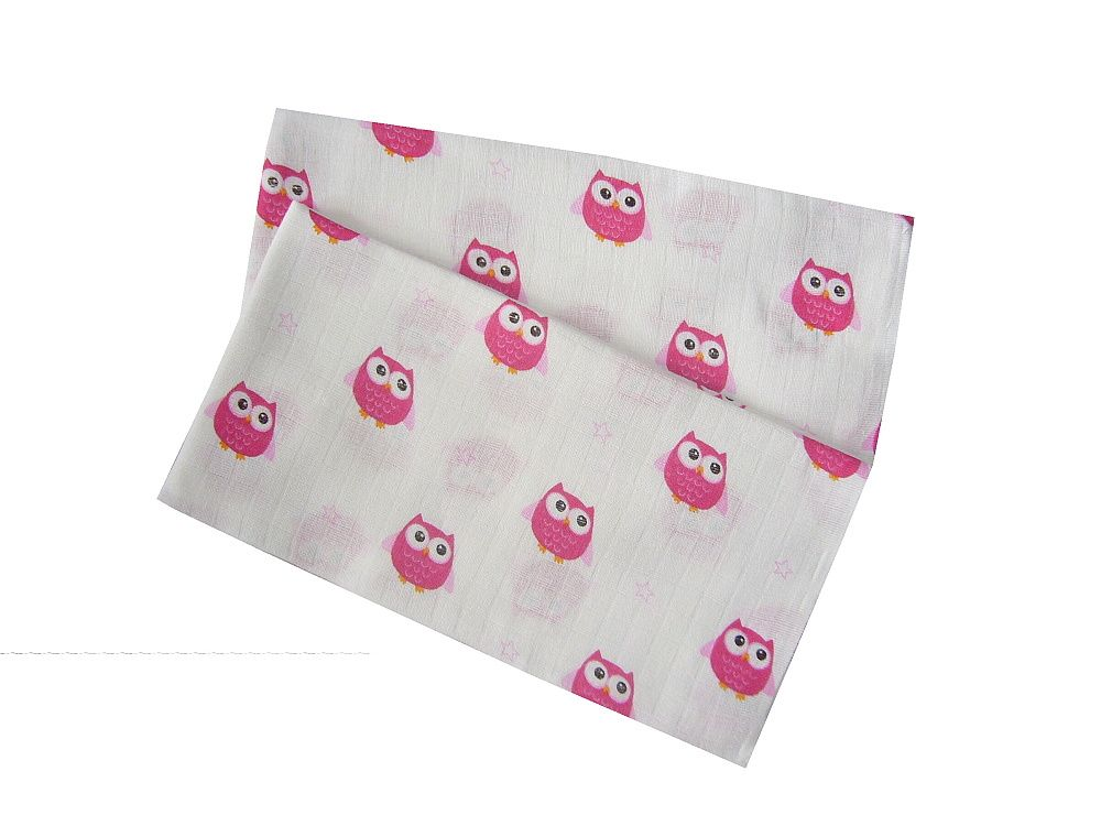 Obrázek soviček na kvalitní dětské látkové pleně Sovy růžové (balení 5 ks), PREM INTERNACIONAL