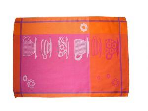 Do oranžové barvy laděná bavlněná utěrka Šálek oranžový 3 ks, Svitap