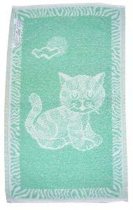 Dětský froté ručník - Kotě světle zelené,
