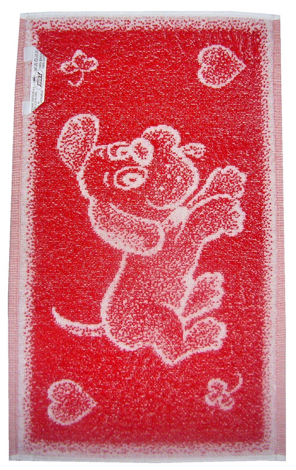 Dětský froté ručník Pejsek červený, rozměr 30x50 cm.