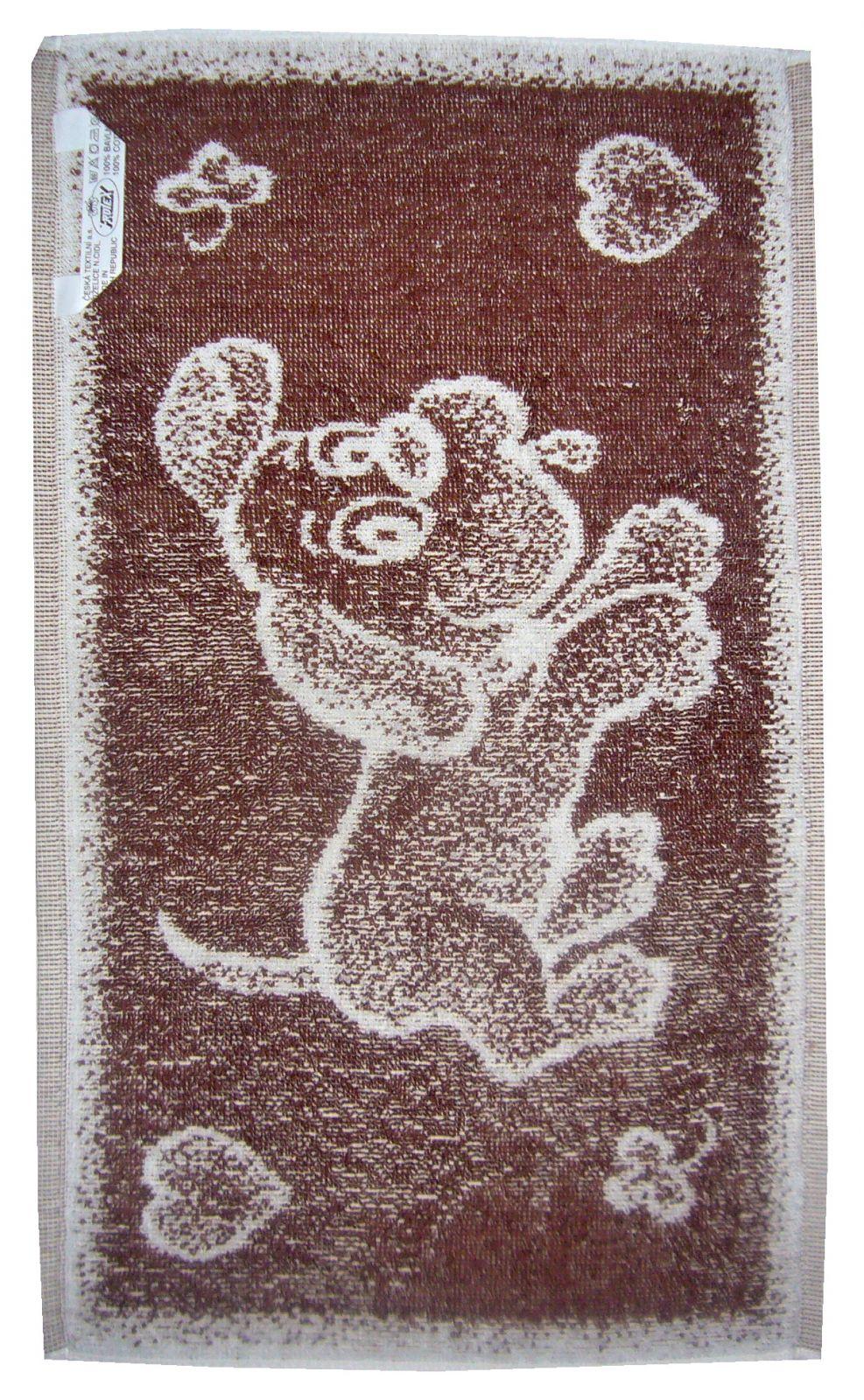Dětský froté ručník Pejsek hnědý, rozměr 30x50 cm.