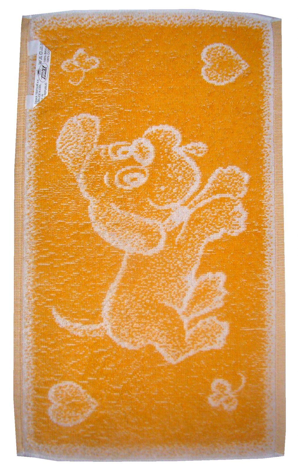 Dětský froté ručník Pejsek okr, rozměr 30x50 cm.