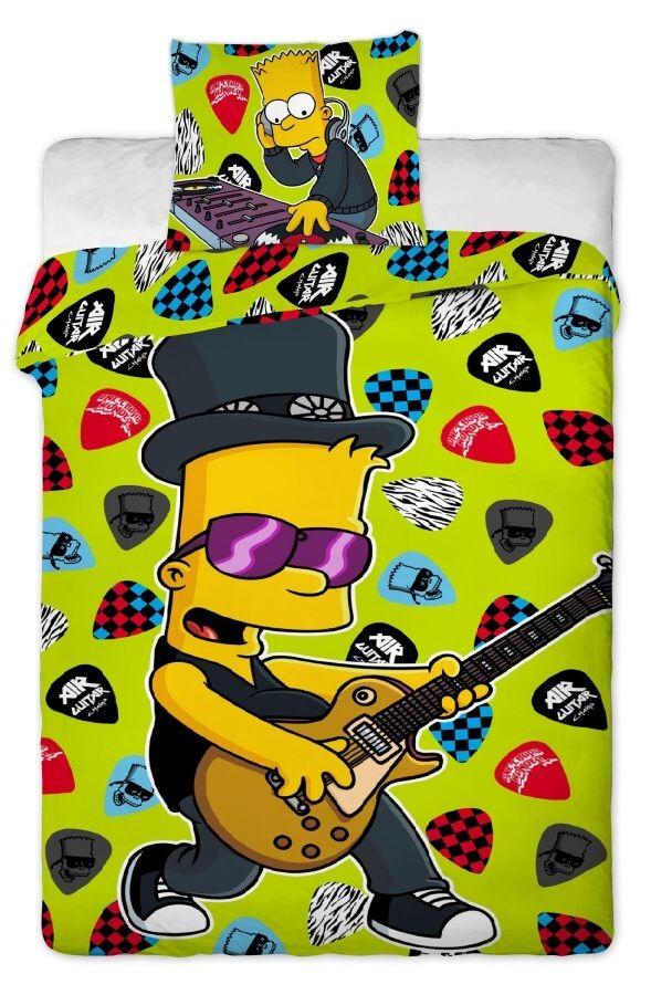 Bavlněné povlečení Simpsons - Bart guitar 2015 1x 140/200, 1x 90/70