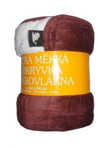 Deka mikrovlákno - Deka Ovečka mahagonová/bílá