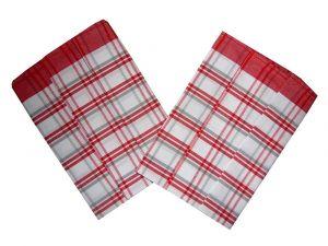 Utěrka z egyptské bavlny 50x70 Káro červenošedé 3 ks