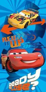 Motiv aut na modrém podkladu u plážové dětské osušky Cars duo, Jerry Fabrics