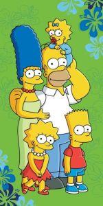 Rodinka Simpsonových na zeleném podkladu u dětské plážové osušky Simpsons 2016, Jerry Fabrics