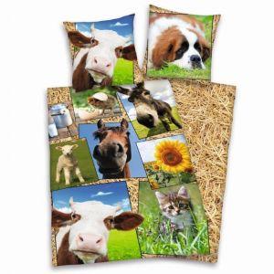 Oboustranné dětské bavlněné ložní povlečení Farma zvířat,