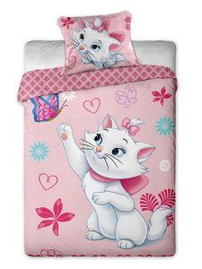 Motiv kočky na bavlněném dětském povlečení Disney - Marie Cat motýl Jerry Fabrics