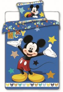 Na modrém podkladu obrázek myšáka u dětského bavlněného povlečení Mickey star, Jerry Fabrics