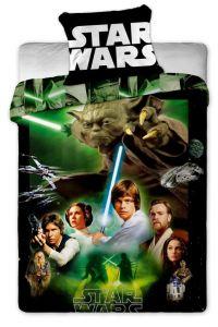 Laděné do zelené barvy, s motivem postav ze sci-fi filmu na dětském bavlněném ložním povlečení Star Wars green