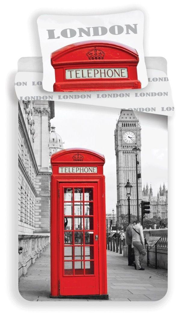 Bavlněné ložní povlečení fototisk London Telephone