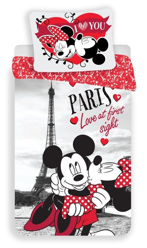 "Bavlněné povlečení Mickey and Minnie in Paris ""I love you"" 1x 140/200, 1x 90/70"