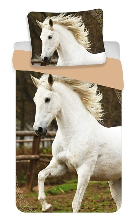 Bavlněné povlečení Fototisk White horses 1x 140/200, 1x 90/70