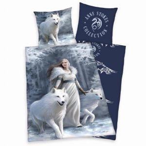 Motiv vlků na kvalitním bavlněném ložním povlečení Anne Stokes Bílí Vlci