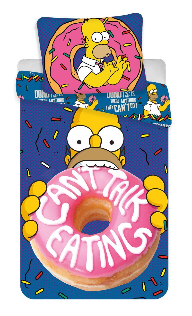 """Bavlněné povlečení Simpsons Homer """"Donut"""" 1x 140/200, 1x 90/70"""
