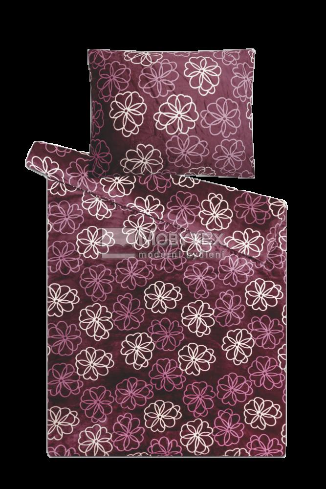 Mikroflanelové povlečení Sleep Well Květiny fialové 1x 140/200, 1x 90/70