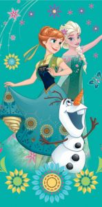 Postavy z Ledového království na kvalitní dětské plážové osušce Frozen green, Jerry Fabrics