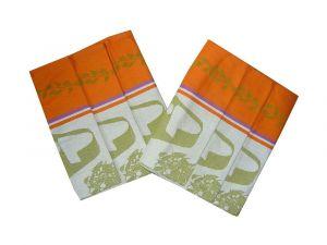 Kombinace barev oranžové a zelené na kvalitní utěrce z bavlny Bylinky oranžové/khaki 3 ks, Svitap