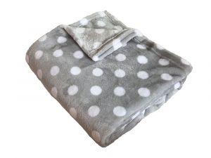 Super soft deka Puntík bílý/šedá