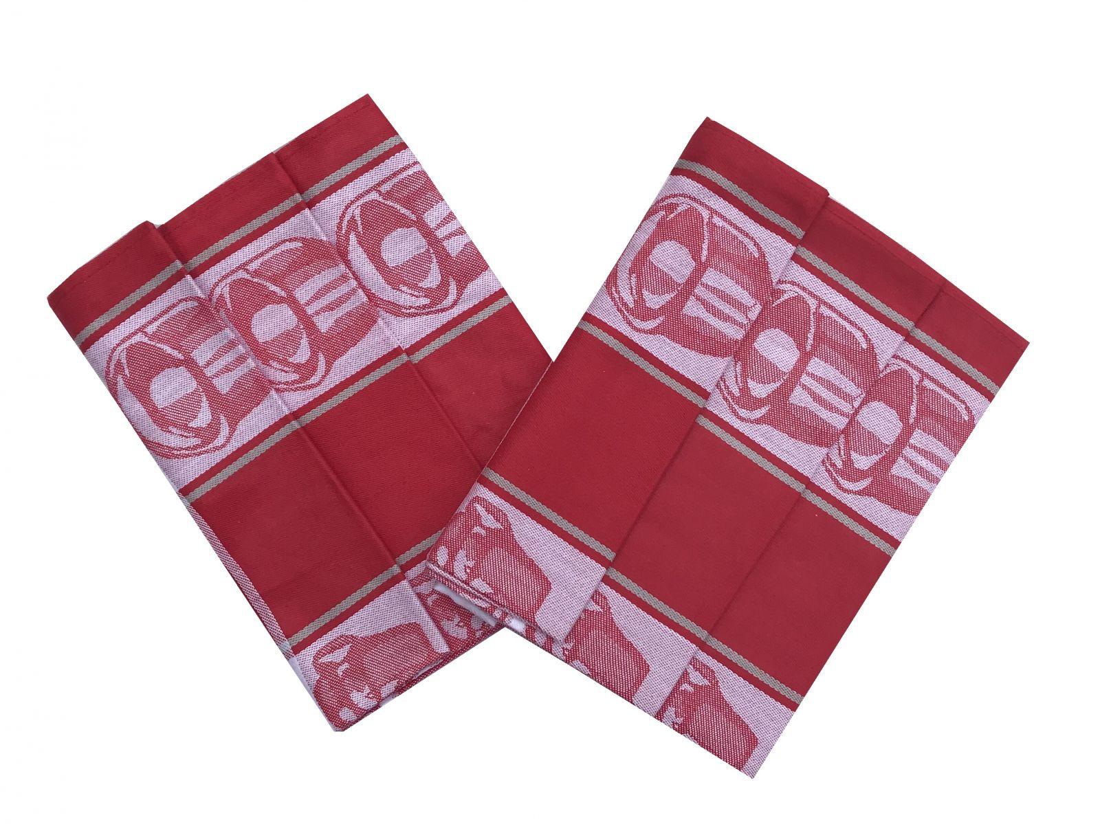 S motivem hrníčků kvalitní kuchyňská bavlněná utěrka Čajová souprava červená - 3 ks, Svitap