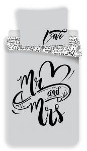 S praktickým zipovým uzávěrem bavlněné ložní povlečení Mr and Mrs, Jerry Fabrics
