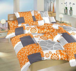 Kombinace barev oranžové, bílé a šedé na luxusním saténovém ložním povlečení Bluemoon oranžový, Dadka