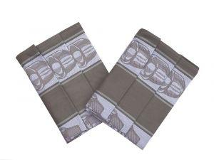 Z egyptské bavlny kvalitní kuchyňské utěrky Čajová souprava béžová - 3 ks, Svitap