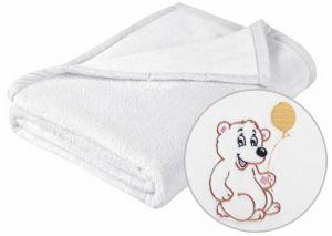 Dětská přikrývka MICRO s výšivkou medvídka v bílém