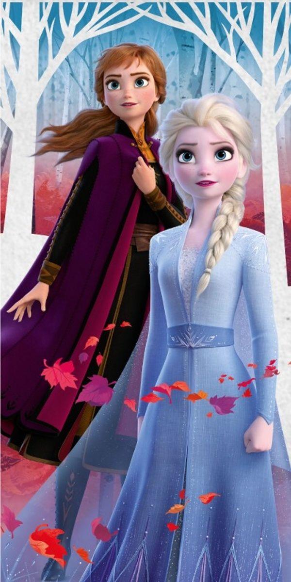 Dětská bavlněná osuška pro dívky s postavami Annou a Elsou z pohádky Frozen, Jerry Fabrics