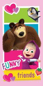 V pestrých barvách kvalitní dětská plážová osuška Máša a Medvěd Friends, Jerry Fabrics
