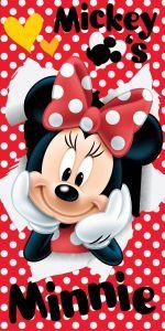 Tečkovaná osuška pro dívky Minnie red 02 70x140 cm Jerry Fabrics