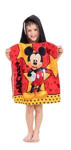 V kombinaci barev žluté a červené laděno kvalitní dětské plážové pončo Mickey star, Jerry Fabrics