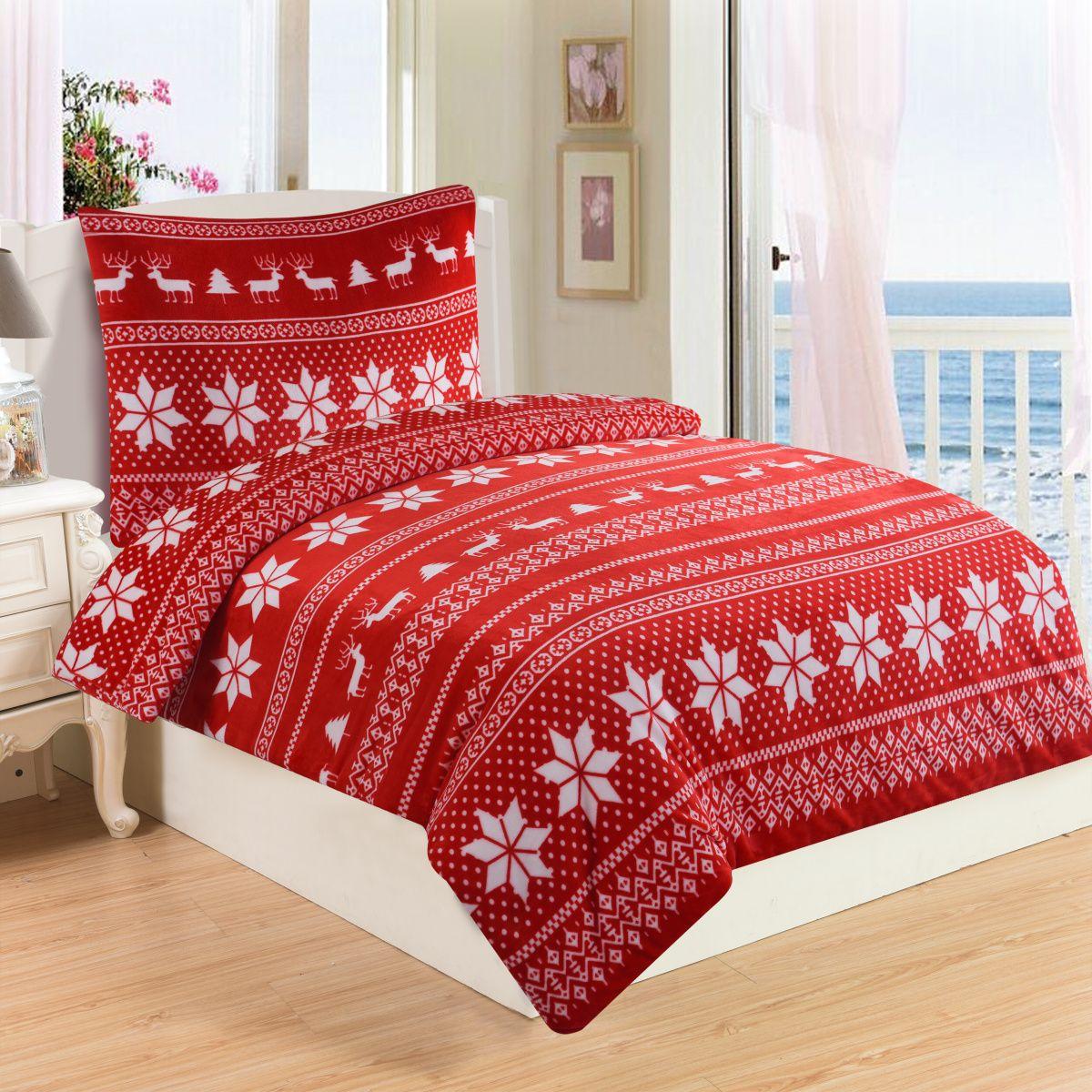 Vánoční povlečení mikroflanel Winter v červené barvě s motivem vloček a sobů, Jahu
