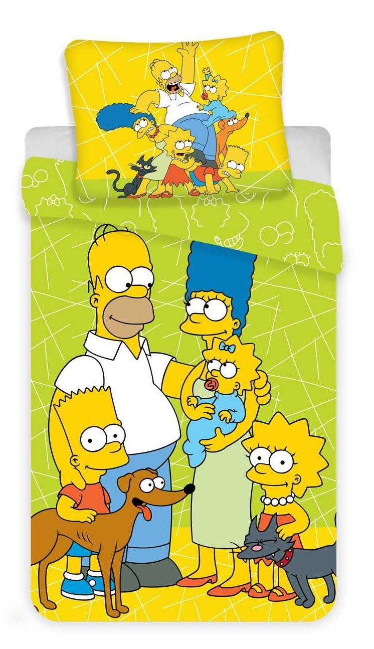 Dětské bavlněné povlečení Simpsons green 02 s motivem celé rodiny Simpsonů, Jerry Fabrics