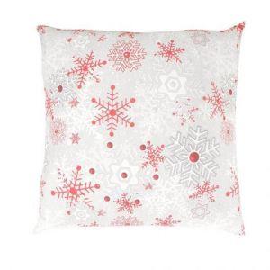 Vánoční bavlněné povlečení VLOČKY červenošedé s bílými a červenými vločkami na bílém pozadí, Kvalitex
