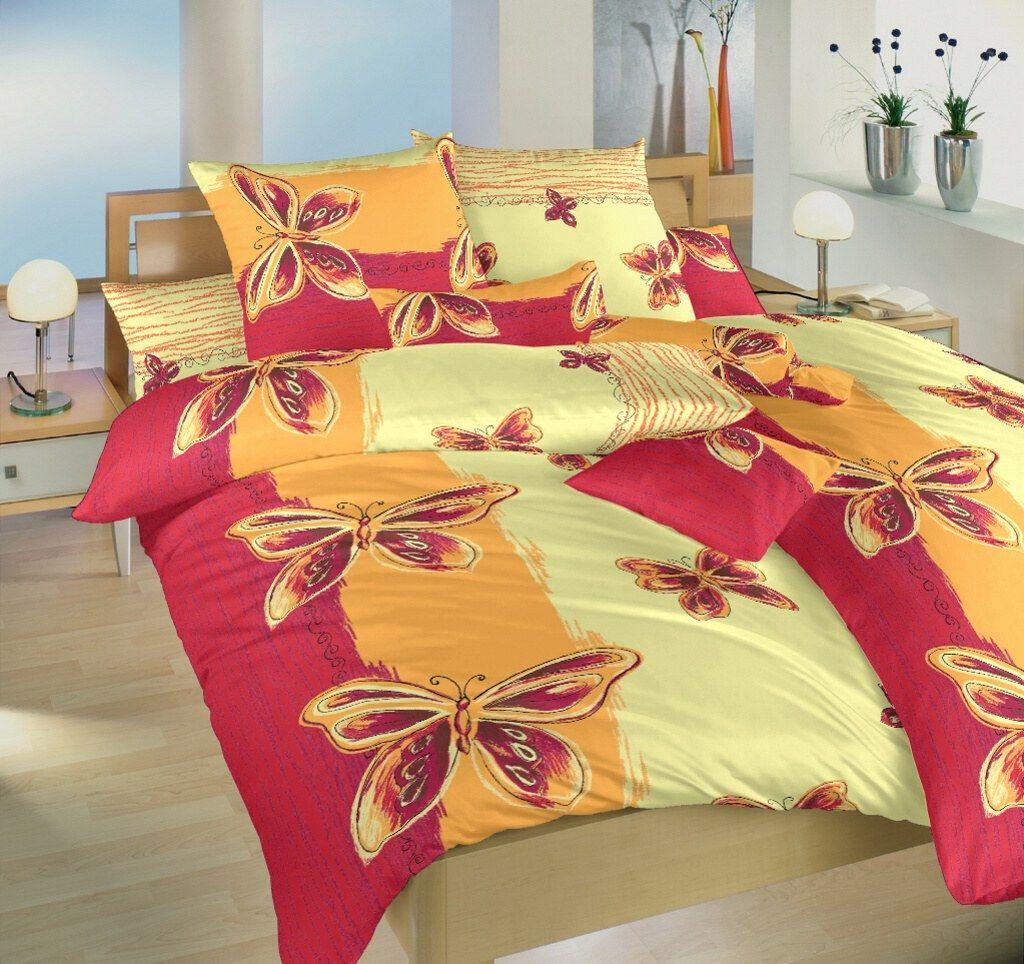 Krásné krepové povlečení s motivem motýlků ve žluté,oranžové a vínové barvě, Dadka