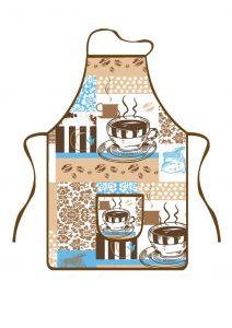 Kuchyňská zástěra Kafe modrohnědé