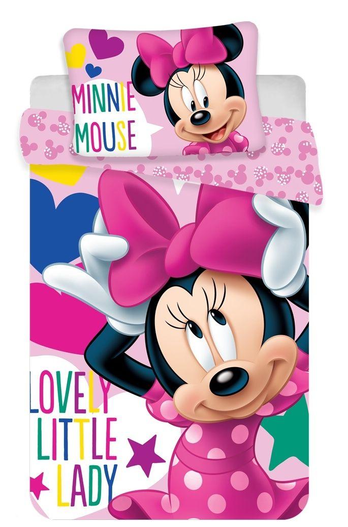 Kvalitní oboustranné dětské bavlněné ložní povlečení do postýlky Minnie baby Disney, Jerry Fabrics