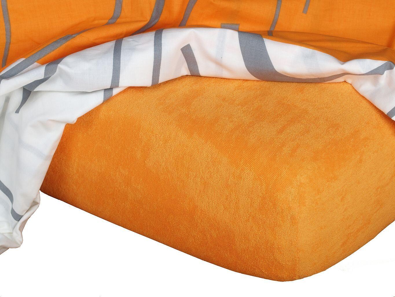 Kvalitní napínací froté prostěradlo českého výrobce pamerančové barvy, Dadka