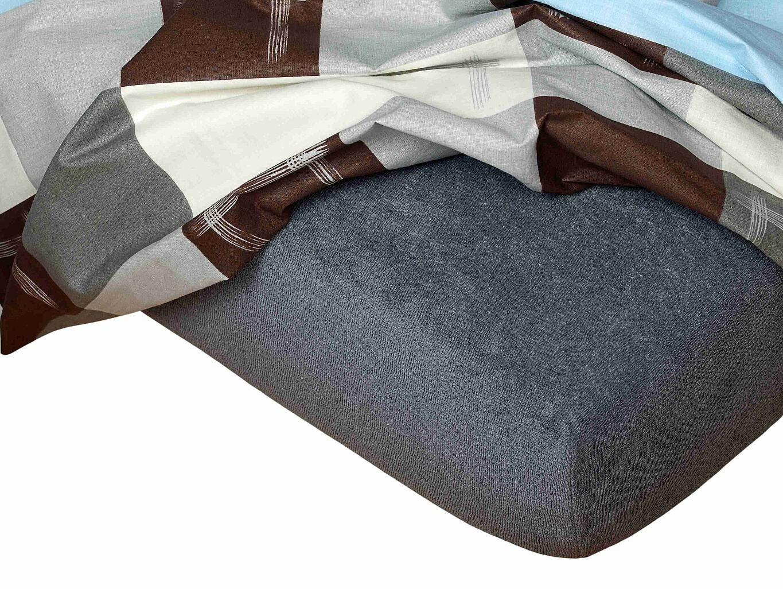 Kvalitní napínací froté prostěradlo českého výrobce tmavě šedé barvy, Dadka