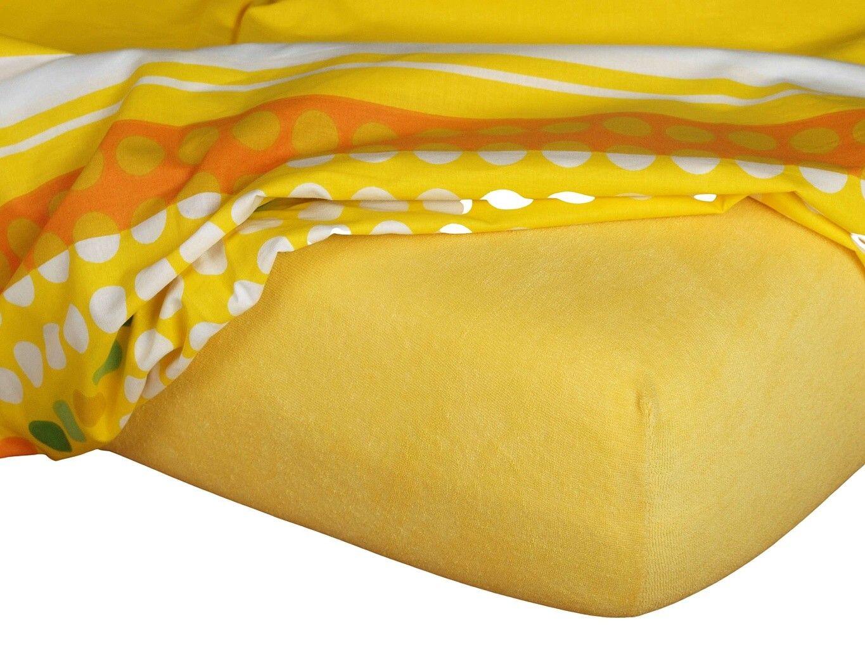 Kvalitní napínací froté prostěradlo českého výrobce tmavě žluté barvy, Dadka