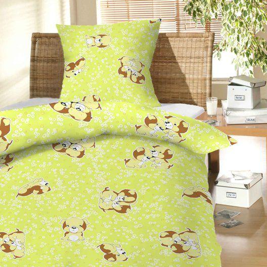 Na zeleném podkladu vzor psa u dětského bavlněného povlečení do postýlky Štěně zelené, Dadka